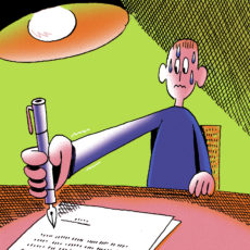 illustration of a man signing a contract